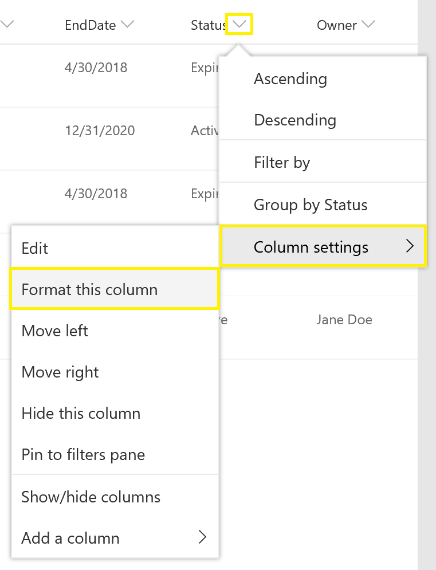 Format column