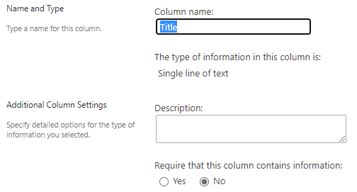 """Title"" column settings"