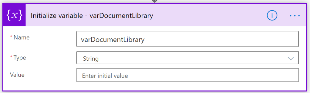 Initialize variable varDocumentLibrary
