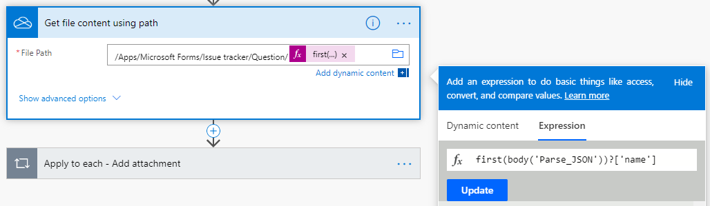 Add attachments from Forms to Microsoft Lists using PowerAutomate