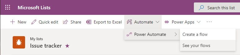 Automate, Power Automate, See your Flows