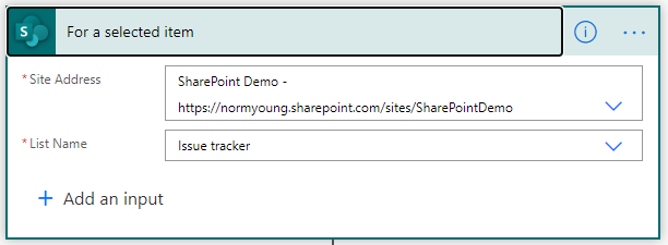SharePoint For a selected item