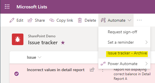 Automate, Issue tracker - Archive