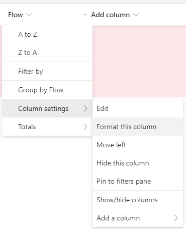 Column settings, Format this column