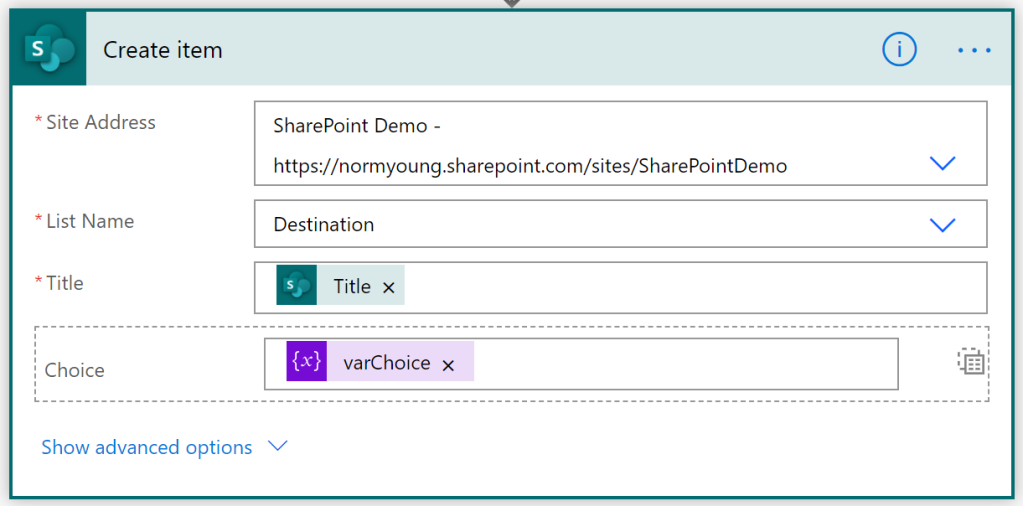 SharePoint create item