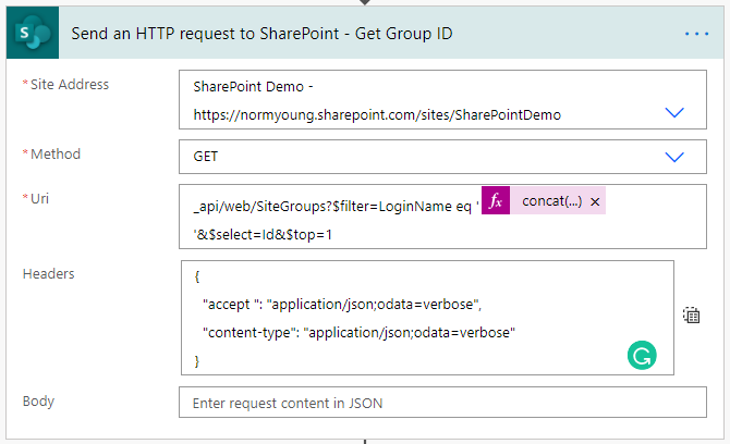 Send an HTTP request to SharePoint - Get Group ID