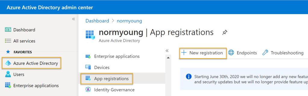 New app registration navigation
