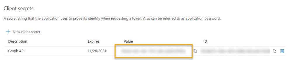 Client secret info