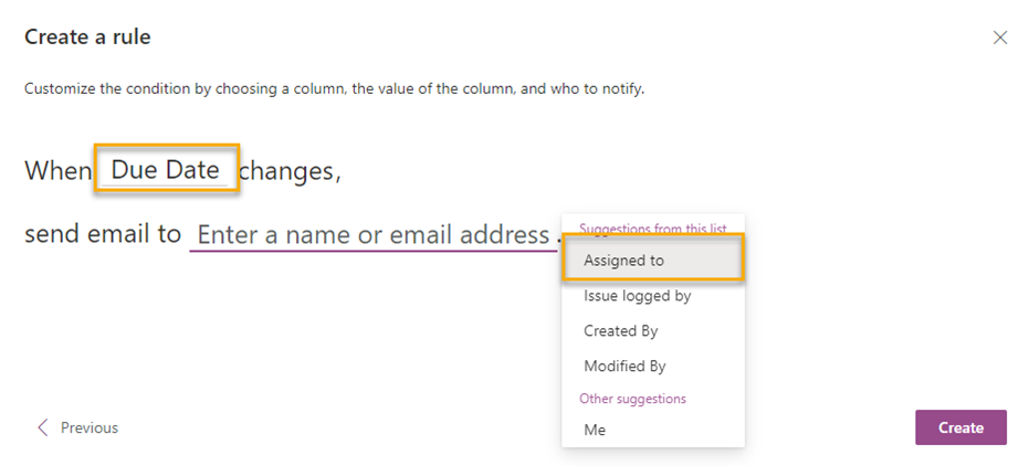 Create a rule for A column changes