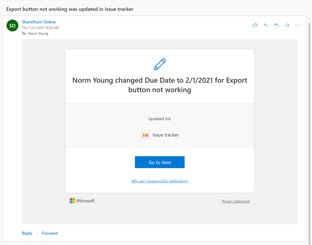 Rule email for A column changes