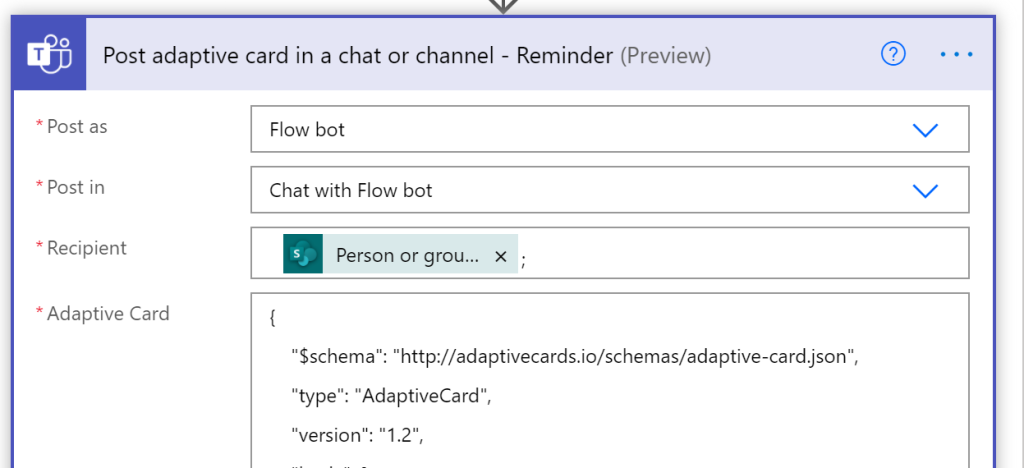 Post adaptive card in chat or channel