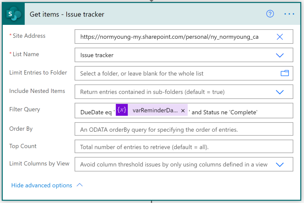 SharePoint Get items action