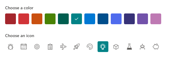 Create list experience for color and icon.