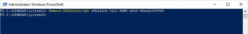 Remove-SPOSiteScript cmdlet