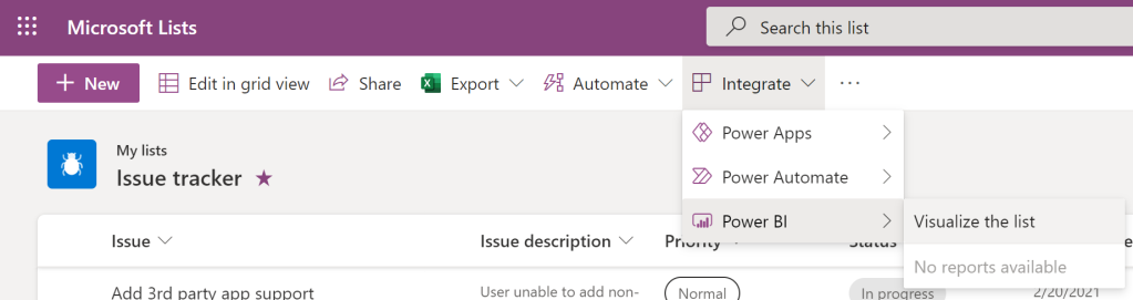 To create the auto-generate report, click Integrate > Power BI > and then select Visualize the list.